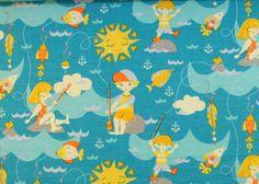 Schöner weicher Baumwolljersey mit Kindern beim Angeln auf blauem Grund - toll für Jungs + Mädchen - Projekte!   95 % Baumwolle und 5 % Elasthan, 160 cm breit  Alle Stoffe sind als Meterware...
