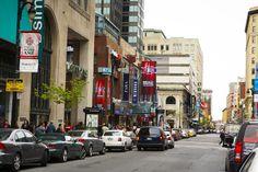 Rue Sainte-Catherine Ouest Crédit : © Tourisme Montréal, Pierre-Luc Dufour    Primary commercial artery of Downtown Montreal #Shopping #Montreal #Downtown
