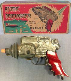 'Atomic Disintegrator' toy ray gun (repeating cap pistol) - by Hubley -- (space era, mid century modern, kids' toys)