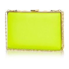 River Island Lime box clutch bag ($37) ❤ liked on Polyvore featuring bags, handbags, clutches, bolsas, purses, green, yellow handbags, color block handbags, yellow purse and kiss lock purse