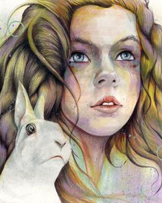 """Lovely painting inspired by Alice in Wonderland and the White Rabbit-- """"Alice"""" by ~MichaelShapcott on deviantART"""
