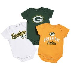 Infant Green Bay Packers Green 2-Pack Creeper Set