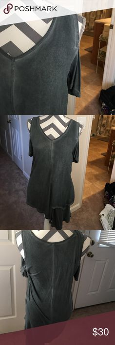 NWOT Asymmetric Hem cold shoulder top NWOT! A dark green/gray color. Super flattering and cool. Fabric is 100% rayon. Very soft Tops