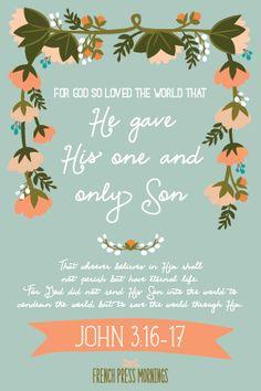 French Press Mornings Print - John 3:16-17 #encouragingwednesdays #fcwednesdaywisdom #quotes