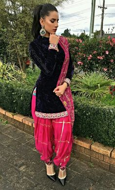 Velvet Punjabi salwar suit   Beautiful combination and elegant look