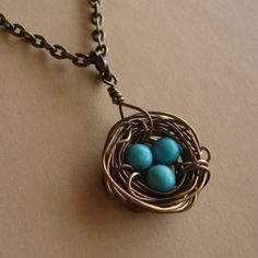 Bird Nest Necklace, Rustic Design in Antique Brass with Turquoises, birds little wire wrapped nest by lizix26