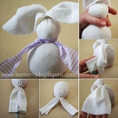 Sew Idea For Gifts Step by step, trim and mold your sock bunny as shown. - Making a no-sew sock bunny is one of those Easter crafts I adore. The kids love them and they make unique Easter gift ideas. Sock Crafts, Bunny Crafts, Rabbit Crafts, Diy Crafts, Easter Projects, Easter Crafts For Kids, Easter Gifts For Children, Easter Ideas, Easter Decor
