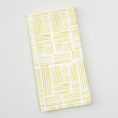 Chartreuse Green Crosshatch Print Napkins Set of 4 - v1