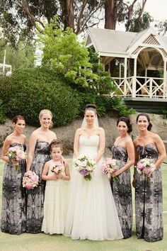 patterned bridesmaids - Photography by louisabaileyweddings.com, Event Planning, Floral   Event Design by lakehouse.com.au