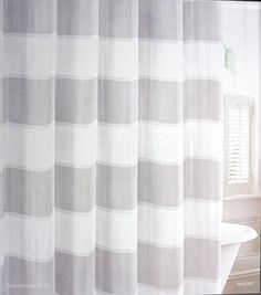 Nautica Fabric Shower Curtain Light Gray And White Stripe... Http://