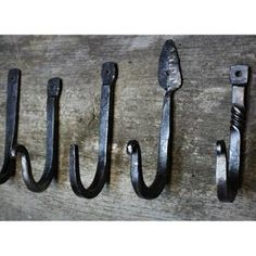 Hand Forged Rustic Hooks Individual Hooks   Etsy Hanging Pans, Houston Houses, Blacksmith Shop, Bbq Area, Wire Brushes, Horse Barns, Stainless Steel Chain, Blacksmithing, Rustic