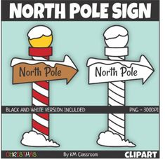 North Pole Sign Clip Art Set Includes 2 Images 1 Color 1 Line Art All Images Are In Png Format Transparent High Resoluti North Pole Sign Pole Sign Clip Art