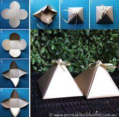 Pyramid gift box template.  FREE! http://www.printables.bluebit.com.au/index.php?id=free_craft_pyramid_box_