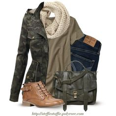 Camo jacket, Knit Scarf & Army green satchel, created by steffiestaffie on Polyvore