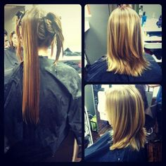 #beforeandafter by Kelli T. #tribecasalon on Kennedy #womenshairstyles #womenshair #womenshaircuts