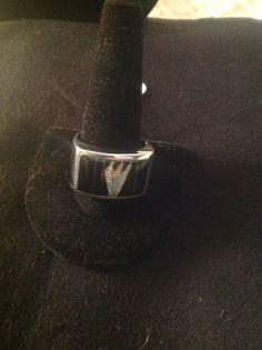 Southwest Black Opal Sterling Silver Whiterock Midnight Sky Ring Size 12-3/4