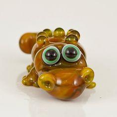 Green Alligator Lampwork Glass Bead  crocodile by maybeads on Etsy