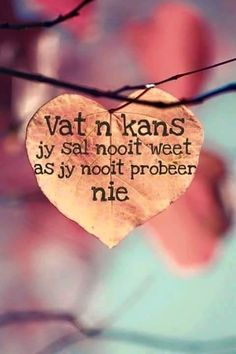 Vat n kans Words Quotes, Wise Words, Life Quotes, Sayings, Prayer Quotes, Afrikaanse Quotes, School Motivation, Note To Self, Picture Quotes
