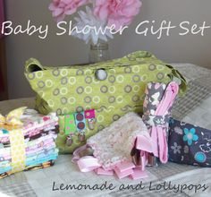 Baby Shower Gift Set!  DIY Burp Cloths, Pacifier Clips, Stroller Bag, Tag Blankie, Changing Pad & Nursing Cover!