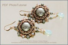 DIY Photo Tutorial Eng-ITA ,*Akoyana* earrings ,PDF Pattern 71 with pearl, swarovski,o-beads and seed beads,instructions,bead weaving