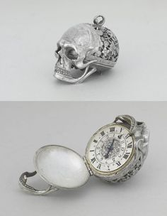 Jean Rousseau #Skull pocket watch from the 17th century. So for all you #Goth hipsters who think you discovered the skull in aesthetics for fashion, jewelry and other accoutrements, you're only 400 years late in your style choices!