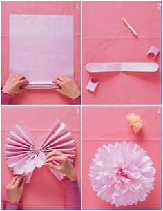 DIY tissue paper pom poms // www.thelovelythings.com #wedding #party #diy #paper #pompom #flower #tissuepaper #decorations #cheap #budget #easy #howto