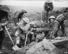 Battle of the Menin Road Ridge. Troops of the 13th Battalion, Durham Light Infantry digging out wounded from their Regimental Aid Post near Zillebeke