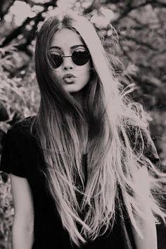 long hair, cute sunglasses