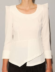 Pointy Shoulder Peplum Top from pixie market