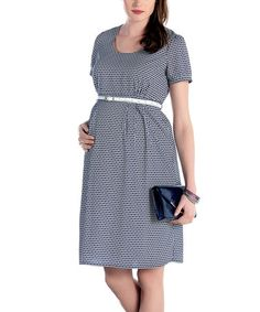 Another great find on #zulily! Navy Blue & White Geometric Belted Maternity A-Line Dress #zulilyfinds