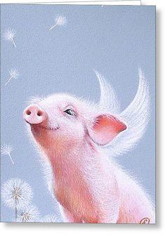 Pig Drawing - Dandelions by Elena Kolotusha Farm Animals, Cute Animals, Dandelion Drawing, Neck Tatto, Dachshund, Pig Drawing, Pig Art, Cute Piggies, Baby Pigs