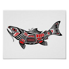 Shop Red and Black Haida Spirit Fish Poster created by SpiritAnimals. Personalize it with photos & text or purchase as is! Haida Kunst, Arte Haida, Haida Art, Arte Tribal, Tribal Art, Haida Tattoo, Tattoo Celtic, Salmon Tattoo, Bones