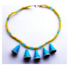 #quilled bells and #beads necklace. Going up for sale soon! #blue #yellow #qulling ling #beads #jewelleryforwomen #jewelry #fashion #accessories #necklace #neckpiece #cool #papergoods #paperlove #shimmeria #etsy