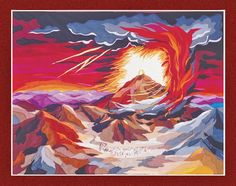 """Shabbat Shalom and Happy Shavuot - Chag Matan Torah Shavuot is also a holiday which the Jewish people celebrate God's giving of the Torah at Mount Sinai. One of my tapestries is dedicated to the """"Giving the Torah on Mount Sinai"""""""