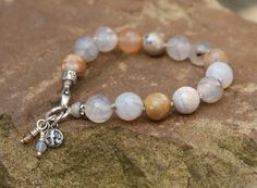Gemstone boho knotted bracelet - Agate chakra stone, spiritual cross charm jewelry, Gift for her