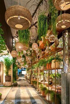 Gorgeous Hanging Bamboo Lamp Design - Louis Kiatiphap Aunyanuphap - Welcome to the World of Decor! Design Hotel, Restaurant Design, Restaurant Bar, Bohemian Restaurant, Interior Design Inspiration, Home Decor Inspiration, Indoor Garden, Indoor Plants, Hanging Plants