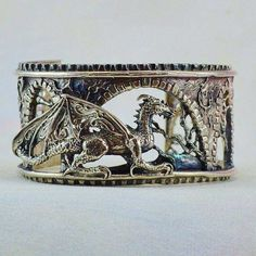 "Sterling Silver Dragon Bracelet ""Brackenthal's Keep"", Fantasy Jewelry Size Small – Make Jewelry Bracelets – Make Jewelry Dragon Bracelet, Dragon Jewelry, Dragon Ring, Dragon Necklace, Jewelry Box, Jewelry Accessories, Jewlery, 90s Jewelry, Simple Jewelry"