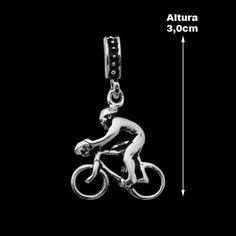 Berloque de Prata Ciclista (Pulseira Memories).