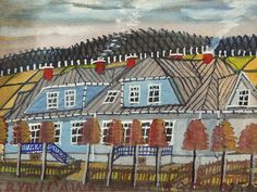 NIKIFOR KRYNICKI (1895-1968)  Domy w Krynicy akwarela, gwasz, papier; 14 x 19 cm (w świetle oprawy); poniżej opis: KRYNICAWSIWILLASEŁO250ZŁ