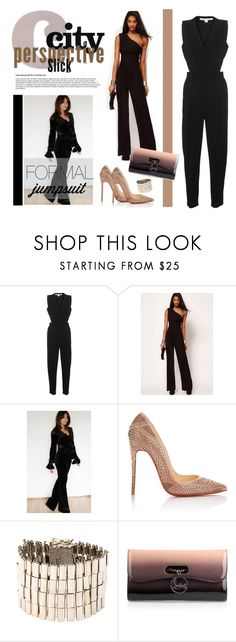 """Formal Jumpsuit"" by defineyourstyle ❤ liked on Polyvore featuring Jonathan Simkhai, Cheeky's, Christian Louboutin, Rosantica and formaljumpsuit"