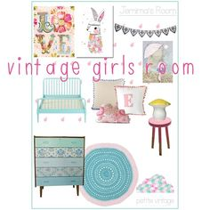 Another vintage girls room this week. Petite Vintage Interiors moodboard.
