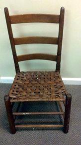 Antique Mission Shaker Ladder Back Primitive Chair w/ Woven Cane Seat