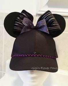 Haunted Mansion Hat - Disney Inspired Ears Hat - Wallpaper with eyes ribbon, Black baseball cap, black ears, purple ribbon & trim by GigisFlowerFancy on Etsy