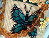 Vintage Butterfly Needlepoint Handbag