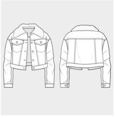 denim jacket template flat fashion vector templates pinterest
