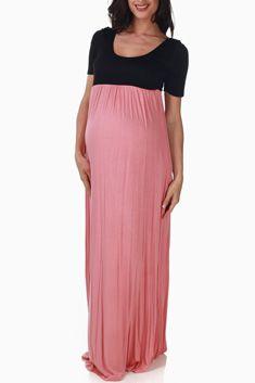 Black Pink Colorblock Maternity Maxi Dress
