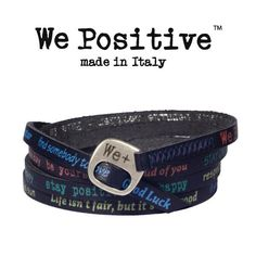 BRACCIALE BLU WE POSITIVE  VINTAGE WP130 CON SCRITTE MULTICOLOR WEPOSITIVE