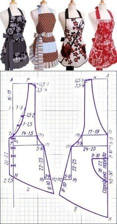 Tuto : Comment Faire tablier de cuisine – … Tuto: How to Make Kitchen Apron – 'Or' What Sewing Aprons, Dress Sewing Patterns, Sewing Clothes, Clothing Patterns, Diy Clothes, Retro Apron Patterns, Apron Pattern Free, Fashion Sewing, Diy Fashion