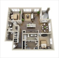 Awesome Two Bedroom Apartment Floor Plan