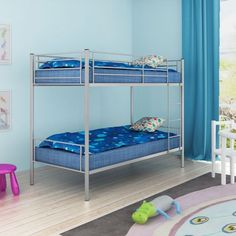 Childrens Bunk Bed Frame Metal Grey Ladder Bedroom Furniture Home Safety Rails #ChildrensBunkBedFrame
